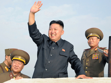 Kim Jong-un waving photograph