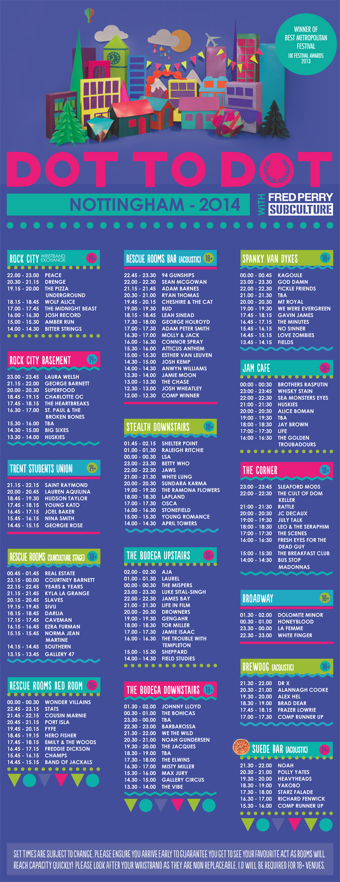 Dot To Dot set times poster