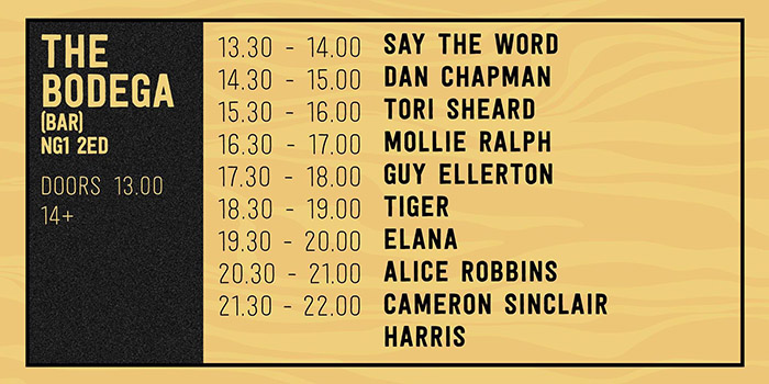 Downstairs Running order image